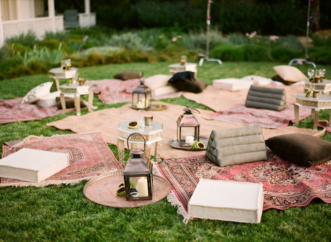vintage blanket picnic wedding