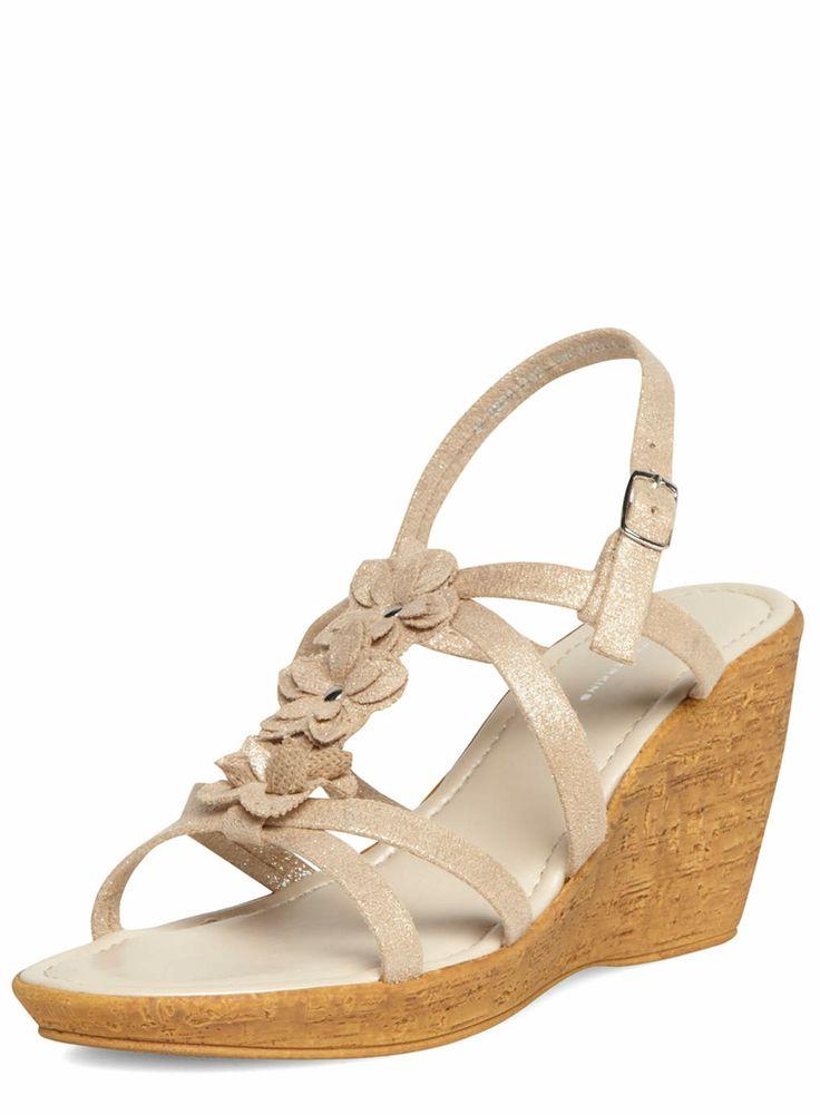 gold cork flower wedges dorothy perkins shoes floral