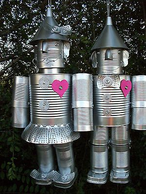 (Married Couple)Tin Can Man Woman Wizard Of Oz Yard Art Decor Garden Unique cute