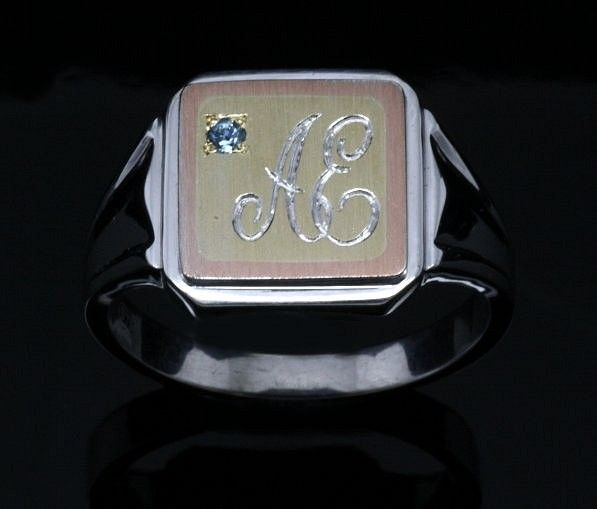 Handmade 9ct 3tone Gents ring with initials and Aquamarine birthstone.