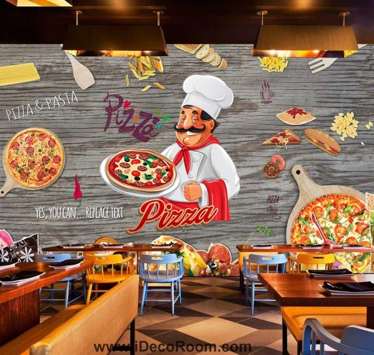 Cartoon Pizza Ingredients Chef Art Wall Murals Wallpaper Decals Prints Decor IDCWP-JB-000875