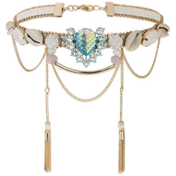 Miss Selfridge Mermaid Shell Choker ($29) ❤ liked on Polyvore featuring jewelry, necklaces, gold color and miss selfridge