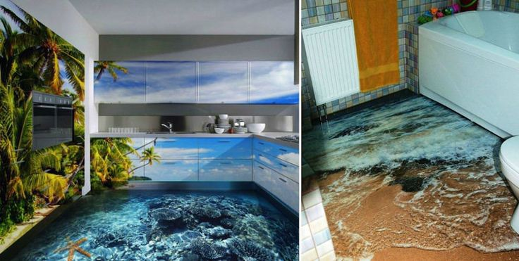 Say goodbye to linoleum and grab a 3d liquid floor for the for Liquid lino floor paint