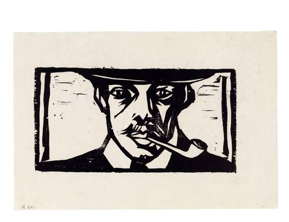 Ernst Ludwig Kirchner (1880-1938): Selbstbildnis mit Pfeife, 1905, Brücke-Museum Berlin