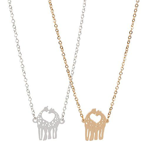 Love Giraffe Necklace Cute Animal Necklace Great for Couples by ROSA VILA (Gold tone) Review