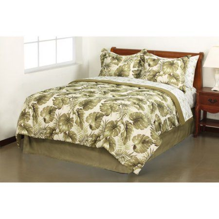 Mainstays Palm Grove Bed in a Bag Bedding Set, King, Multicolor