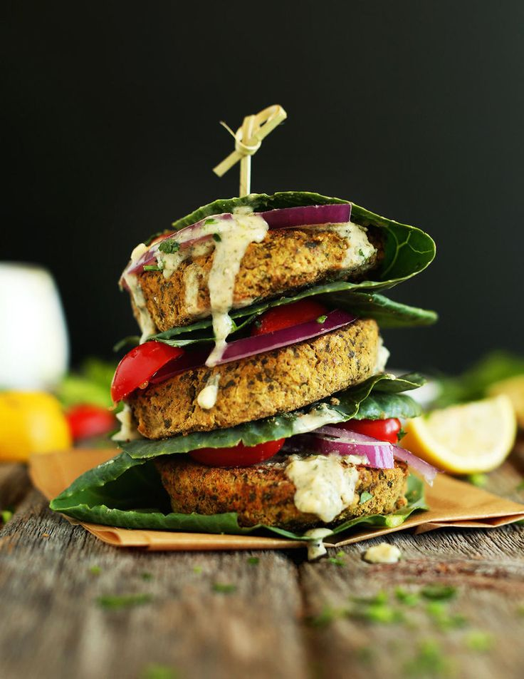 Swap out your cheeseburger for these healthy & tasty baked falafel burgers!