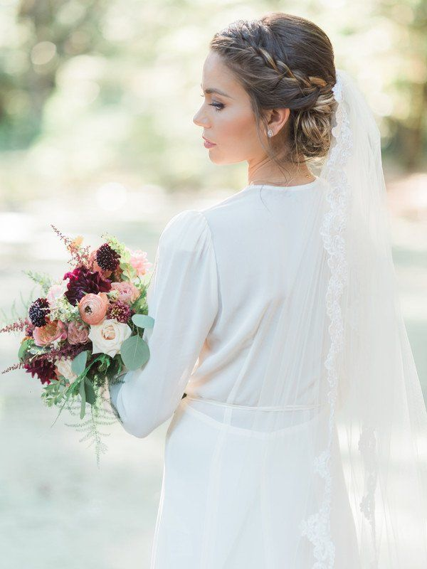 Updo For Wedding Braided Updo With Lace Edged Veil Ditto Dianto