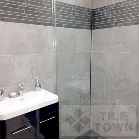 Edale Grey Bathroom Wall Tiles Supplied By Tile Town Discounted Slate Effect Wall Floor Tiles Bathrooms