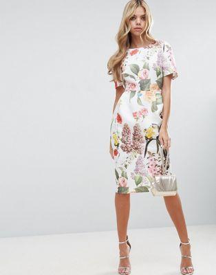 ASOS - Robe fourreau à imprimé floral