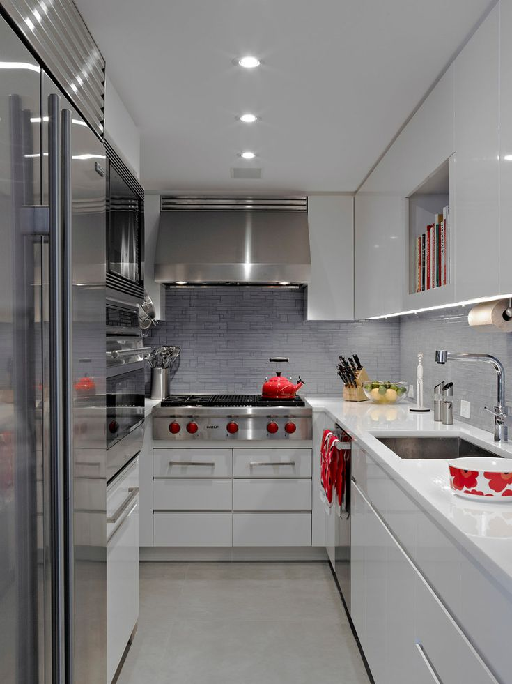 Small Nyc Kitchen Ideas Part - 47: Red Touches In A Neutral Kitchen--of Course I Love It! --Modern Apartment  NYC - Contemporary - Kitchen - New York - Michel Arnaud