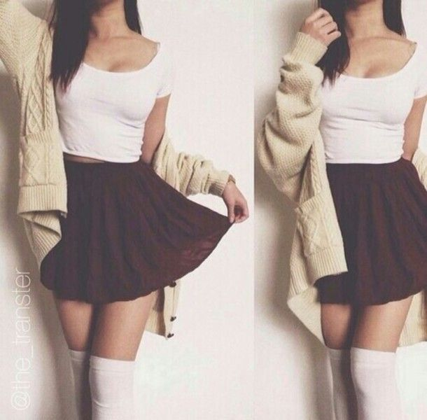 skirt cute outfit cute cardigan crop tops top skater skirt knee sock over the knee socks cream white bordeaux grey