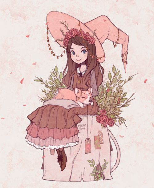 "missusruin: "" Witchsona commission for thelabyrinthlolita, from puppetgrenade pink/charms/herbal tea witch + corgi familiar """