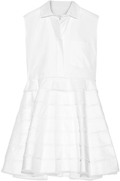 Carven - Tiered Guipure Lace-trimmed Cotton-twill Mini Dress - White - FR42