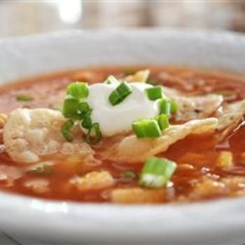 Chicken Tortilla Soup - we added black beans, diced tomatoes, and made