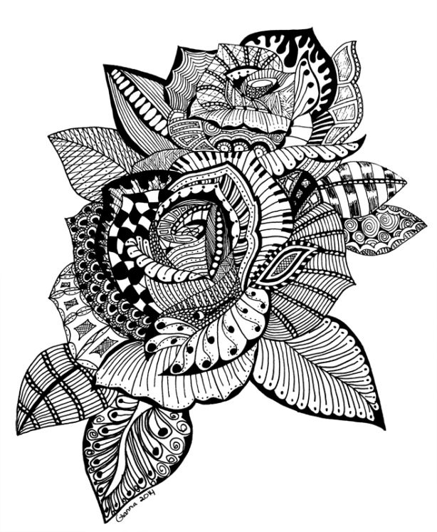 Doodle flower zentangle