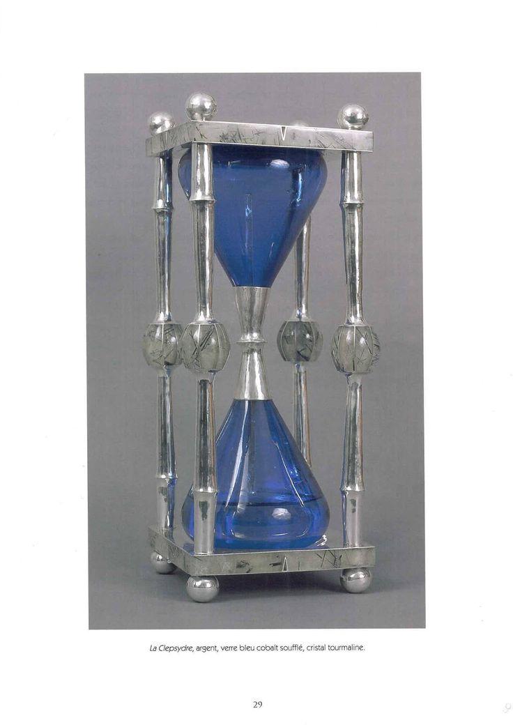 """Goudji. """"La Clepsydre"""", argent, verre bleu cobalt soufflé, cristal tourmaline."""