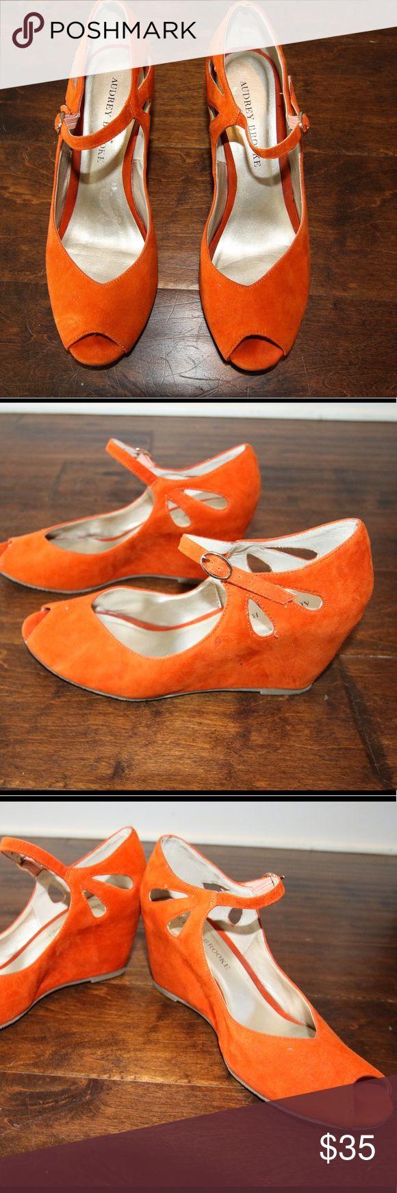 Audrey Brooke  orange suede wedge sz 8 Audrey Brooke orange suede wedges  sz 8 Audrey Brooke Shoes Wedges