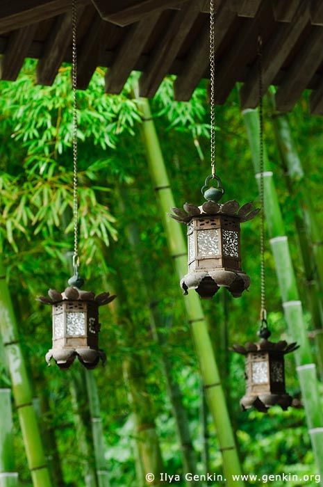 Copper Lanterns at Kyozo Sutra Archive at Kaikozan Hase-dera Temple, Kaikozan Hase-dera Temple, Kamakura, Honshu, Japan.