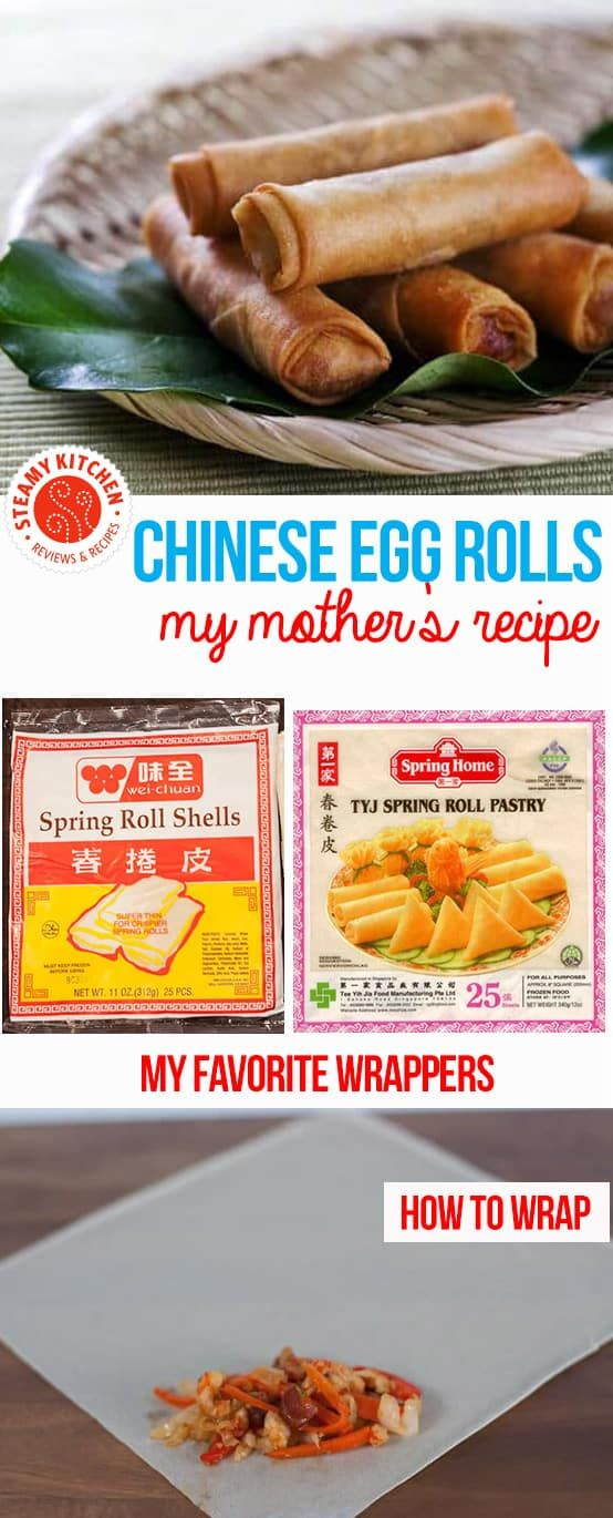 Chinese Egg Rolls Recipe: my mother's famous recipe for delicate, not-greasy, authentic, crispy Chinese egg rolls. via @steamykitchen