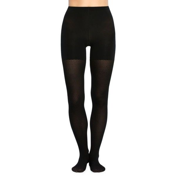 Spanx  Diamond Dot Mid-Thigh Shaping Tights ($28) ❤ liked on Polyvore featuring intimates, hosiery, tights, very black, spanx pantyhose, spanx hosiery, spanx tights, spanx stockings and spanx
