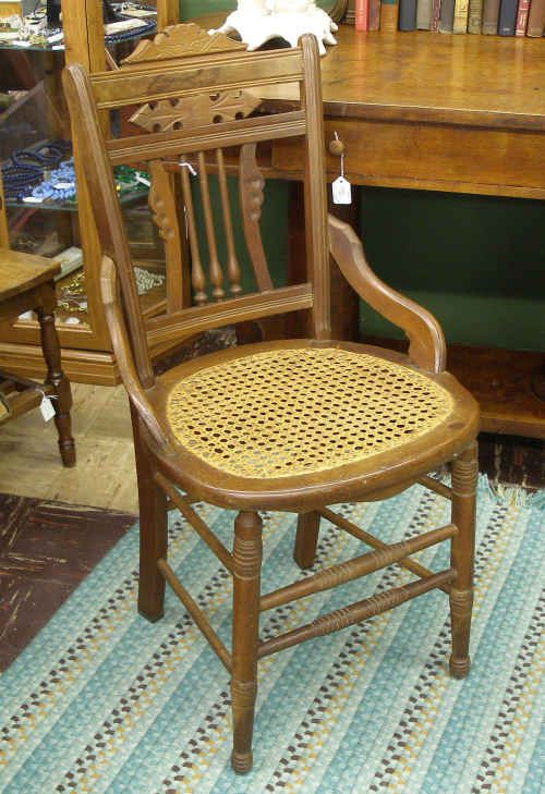 Elegant Antique Wooden Chairs With Cane Seats