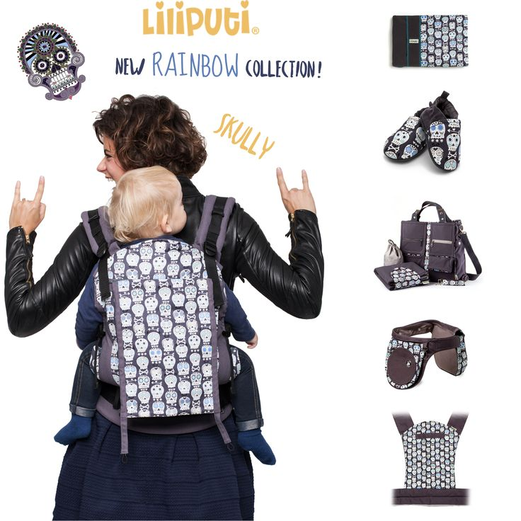 "We don't have to introduce ""Skully"" but finally all the accessories are available in this pattern!  Only for the coolest families! :)  Check it out HERE: http://www.liliputibabycarriers.com/collection-skully"