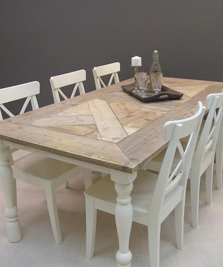 Tafel ISABEL mozaiek blad steigerhout met wit onderstel (13112013) http://www.jorg-steigerhout.nl/