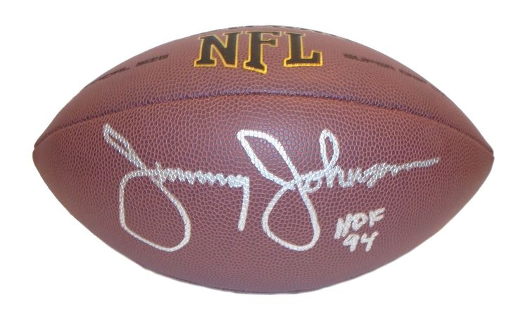 "Jimmy Johnson Autographed NFL Wilson Composite Football w/ Inscription, Proof. Jimmy Johnson Signed NFL Football w/ ""HOF 94"" Inscription, San Francisco 49ers, UCLA Bruins, Proof  This is a brand-new Jimmy Johnson autographed NFL Wilson composite football featuring ""HOF 94"" inscription!  Jimmy signed the football in silver paint pen. Check out the photo of Jimmy signing for us. ** Proof photo is included for free with purchase. Please click on images to enlarge. Please browse our website for…"