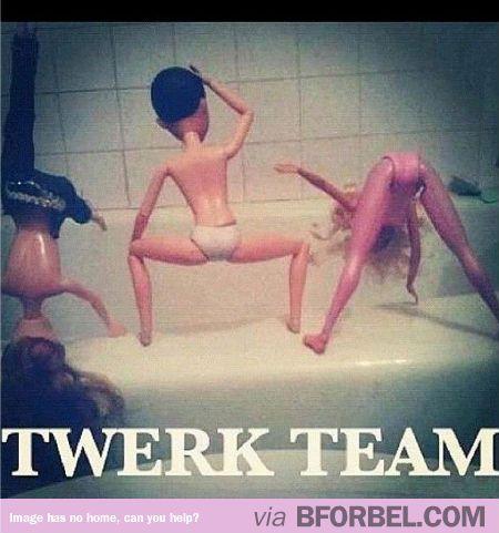 Barbie gets on the Twerk Team