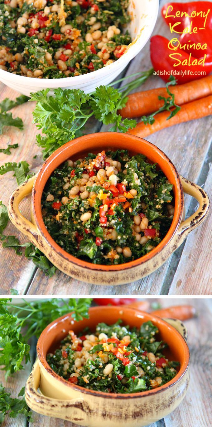 Delicious and nutritious, Lemony Kale Quinoa Salad is a colorful salad packed with lots of health benefits! A mix of kale, quinoa, white beans, peppers and carrots finished with a lemon vinaigrette, this salad is sure to be a new favorite!