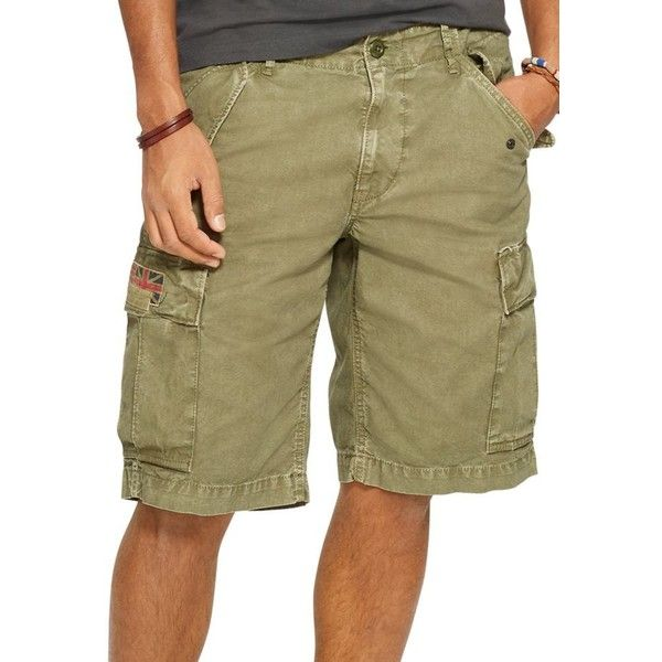Denim  Supply Ralph Lauren Rustic Sage Field Cargo Shorts ($27) ❤ liked on Polyvore featuring men's fashion, men's clothing, men's shorts, rustic sage, mens cotton cargo shorts, mens short shorts, mens cargo shorts, mens cotton shorts and short mens clothing
