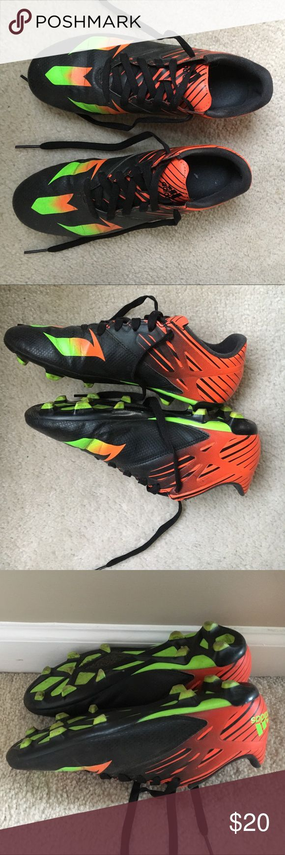 Boys Adidas soccer cleats sz 6 Orange black and fluorescent green-ish yellow cleats. My son wore these a handful of times. adidas Shoes