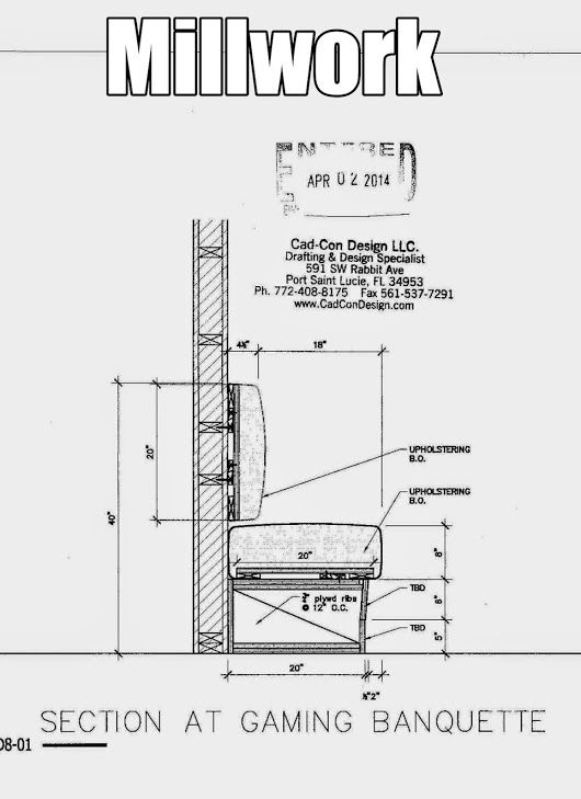 banquette section details any feed back on our detail is welcome MillworkShopDrawings