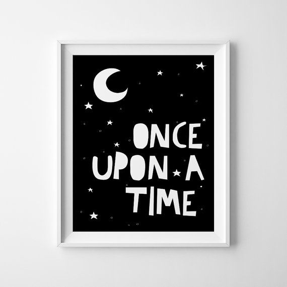 """Typography Kids Poster """"ONCE UPON A TIME"""" Kids Wall Art, Baby Wall Decor, Inspirational Poster, Motivational Kids Poster"""