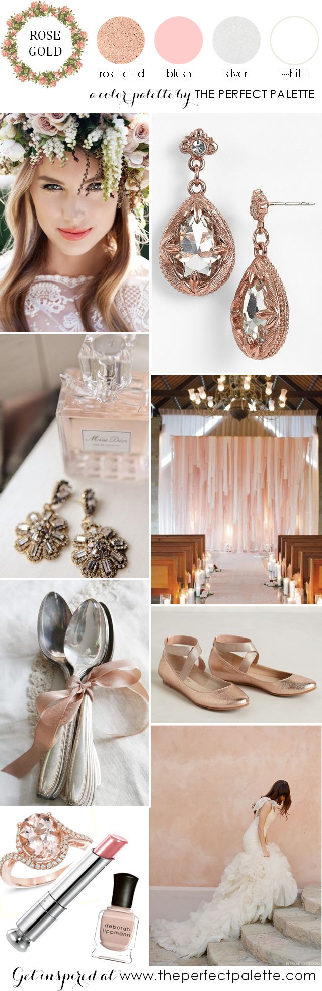 Blush Wedding Palette. Combination of rose gold hues and pretty blush shades. (Image by perfect palette)