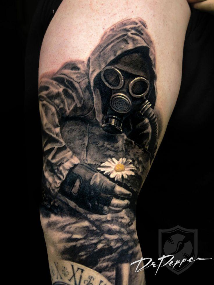 Realistic Polka Gas Trash Mask Tattoos