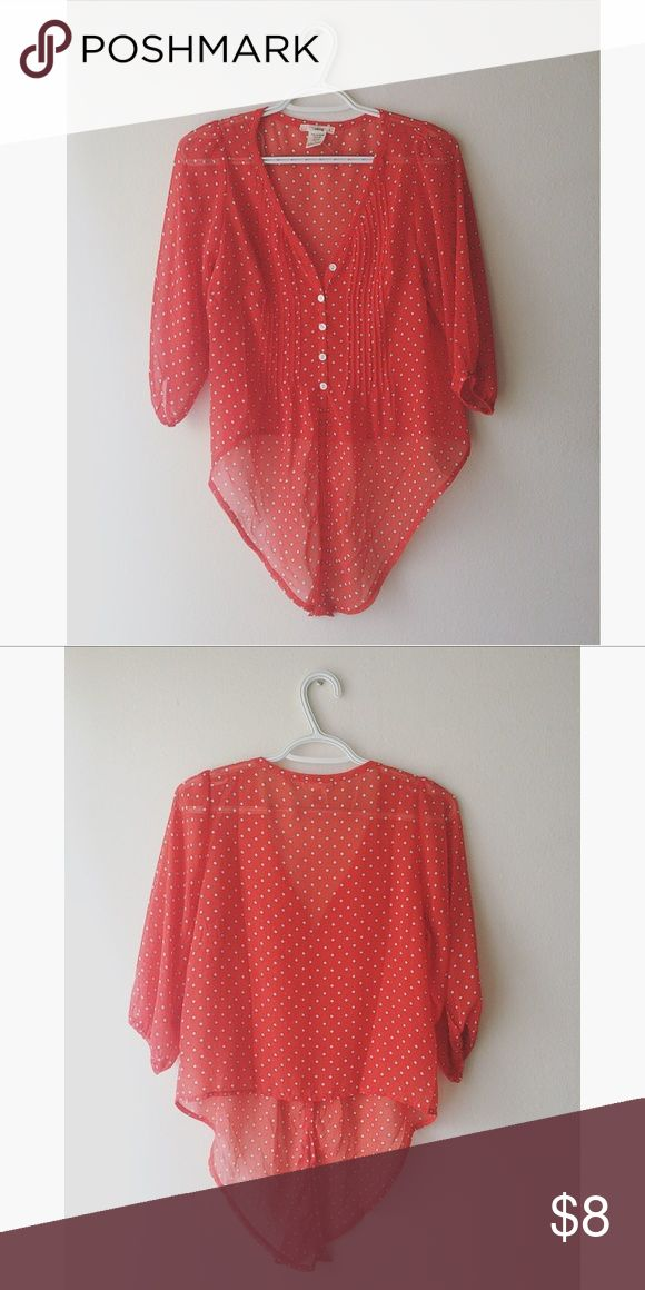polka dot loose flowing blouse • coral red chiffon polka dot blouse • like new Timeless Tops Blouses