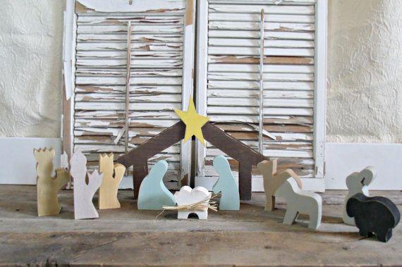 Fait sur mesure - lot Nativité, décoration de Noël, décor de Sainte nuit, babe en décor de crèche, crèche, décor de Noël rustique, bois Nativité