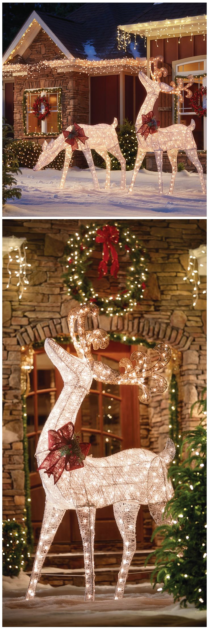 Christmas yard decorations - These Luminous Deer Figures Will Add A Classic Rustic Charm To Your Outdoor Christmas D Cor