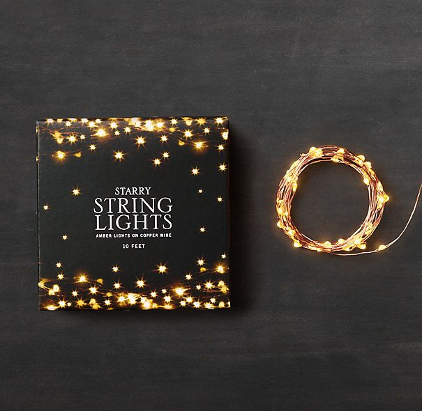 Purchased this to string along my bed frame, ah yes! Starry String Lights  by Restoration Hardware