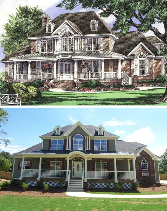 97 best rendering to reality completed images on pinterest for Traditional house plans two story