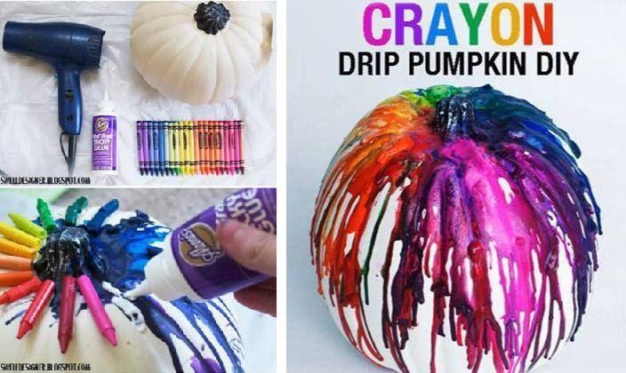 Crayon Drip Pumpkins