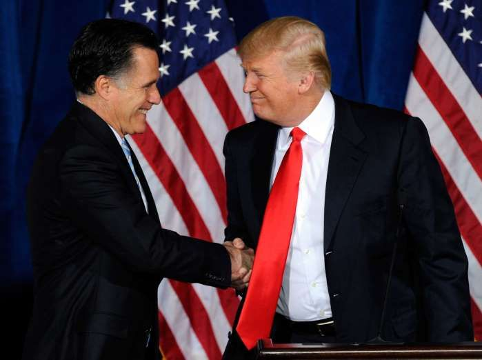 The different handshakes of Donald Trump  -  May 25, 2017:    THE...COME A LITTLE CLOSER, I WON'T BITE  -    Mitt Romney and Trump shake hands during a news conference held by the latter to endorse Romney for U.S. President at the Trump International Hotel & Tower Las Vegas on Feb. 2, 2012 in Las Vegas, Nevada, U.S.