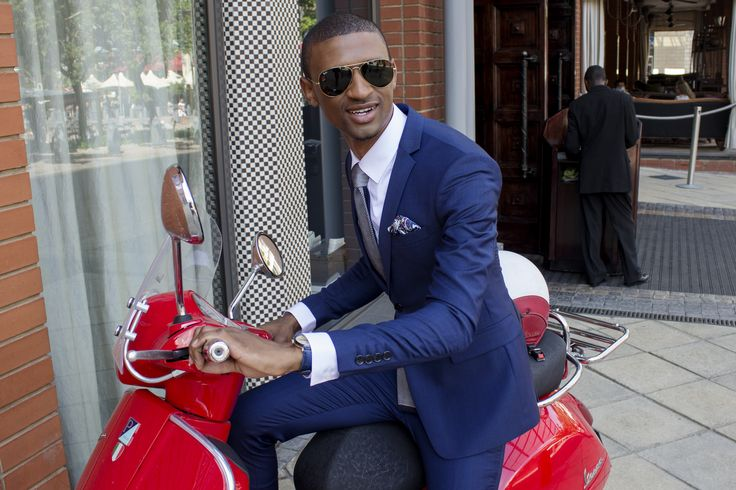 Linda Makhanya in a Blue LM Tailored Suit.