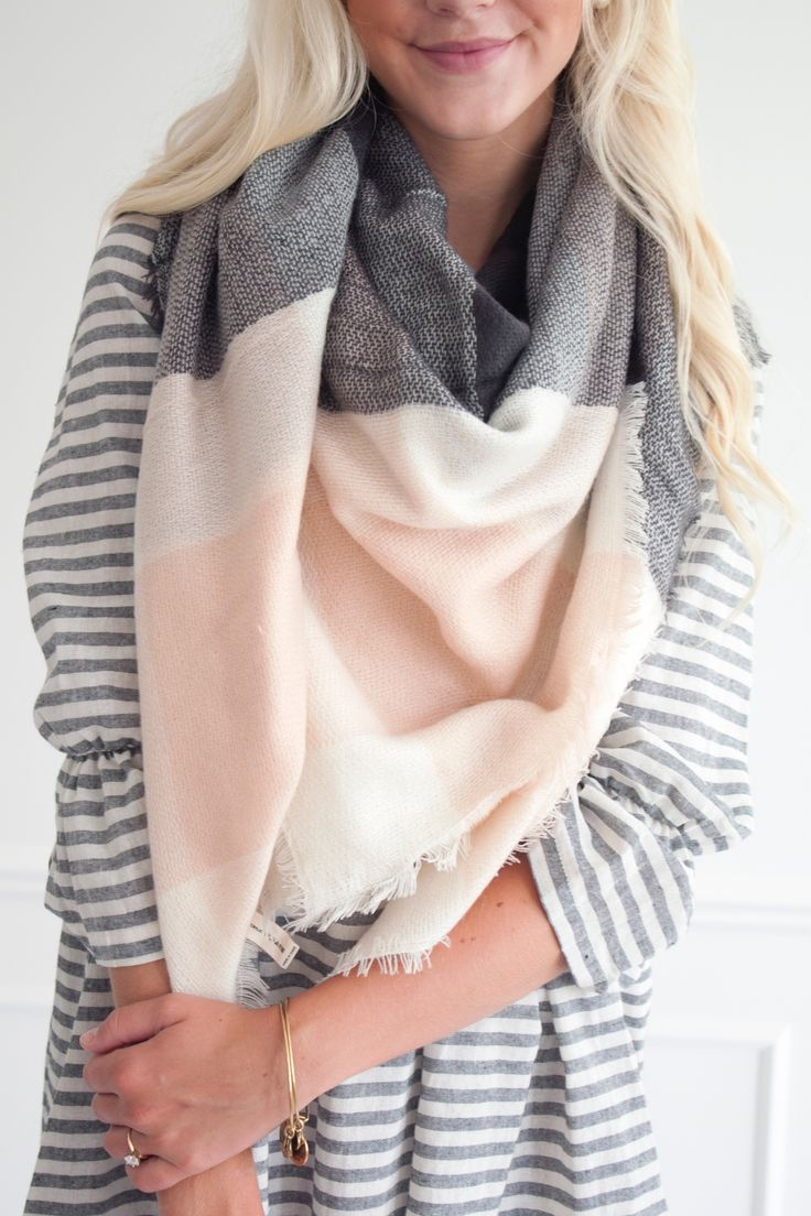 Blush and charcoal color-block oversized square blanket scarf.