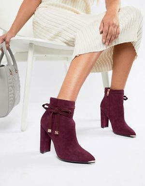 3e90e5642846 Ted Baker Burgundy Suede Heeled Ankle Boots with Bow