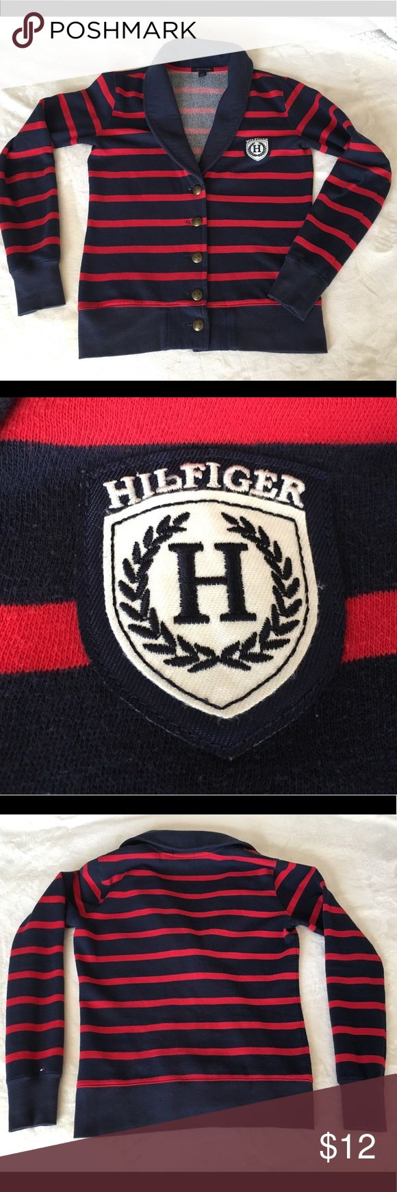 Tommy Hilfiger cardigan Tommy Hilfiger cardigan, size XS, dark blue and red stripes. Used, but in good condition. Tommy Hilfiger Sweaters Cardigans