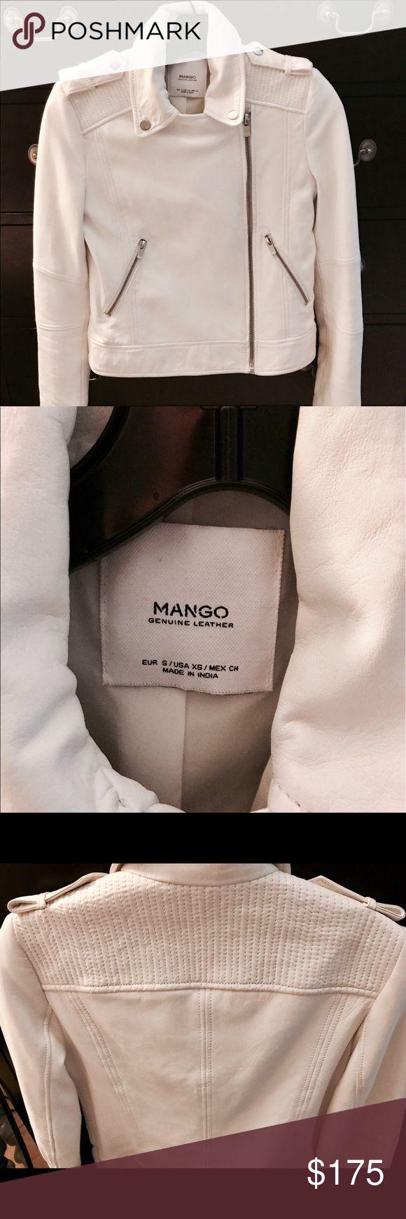 Mango bright white leather jacket Gorgeous buttery soft white leather jacket by Mango. Worn twice - like new. Jackets & Coats