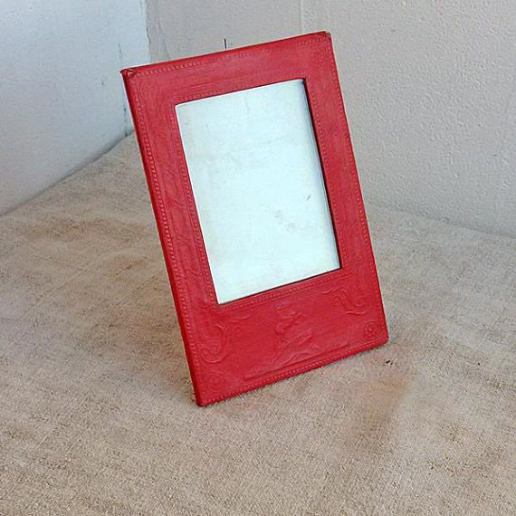 Antique frame Red photo frame Soviet vintage embossed paper